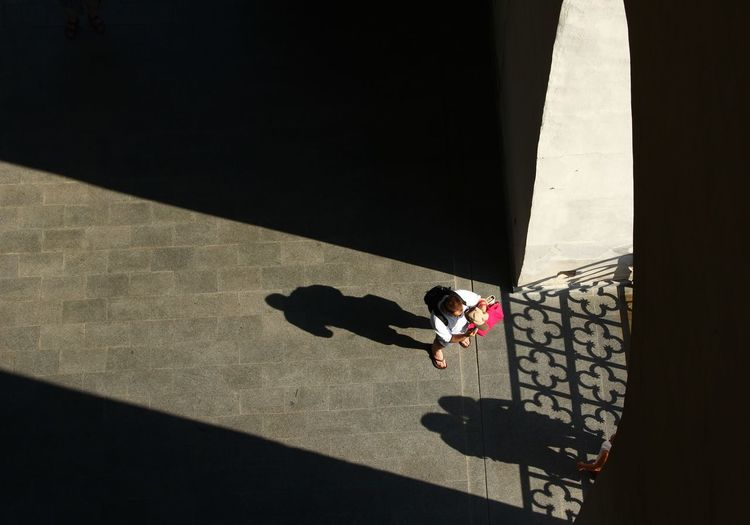 High Angle View Of Man In City