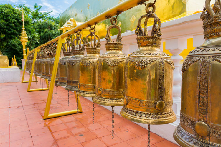 Wat Phra Sing in Chiang Mai Province ,Thailand ASIA Bell Buddha Chiang Mai Thailand Travel Wat Phra Sing Buddhism Close-up Day Landmark No People Outdoors Religious  Temple Travel Destination Yellow