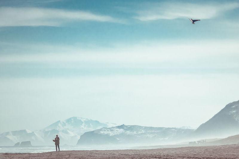Man flying kite at beach against sky