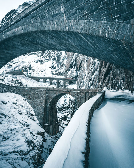 Old Bridge The Week On EyeEm Winter Andermatt  Architecture Beauty In Nature Blue Brick Bridge Bridge - Man Made Structure Bridgeception Cold Cold Temperature Day Moody Nature No People Outdoors Scenics Snow Switzerland Teufelsbrücke Weather White Color Winter