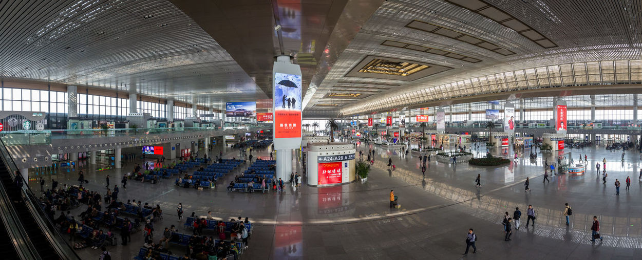 A panorama of the enormous waiting hall at Nanjing Railway Station Nanjing  Panorama Waiting Hall China Hall Large Building Railway Railway Station Train Train Station