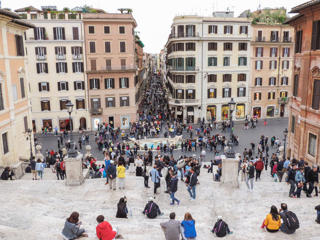 Architecture Buildings City City Life Crowded Incidental People Large Group Of People Lifestyles Lively Narrow Narrow Street Outdoors Resting Spanish Steps Stairs Street Vacation Watching