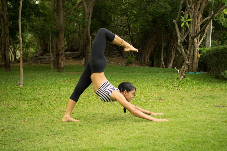 Woman Practicing Yoga On Grassy Field At Public Park
