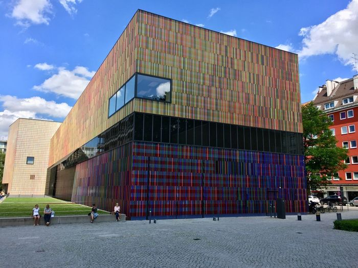Architecture in Munich, Bavaria, Germany Multi Colored Museum Modern Architecture Architecture Built Structure Building Exterior Sky City Group Of People Men Building People Outdoors Day Cloud - Sky