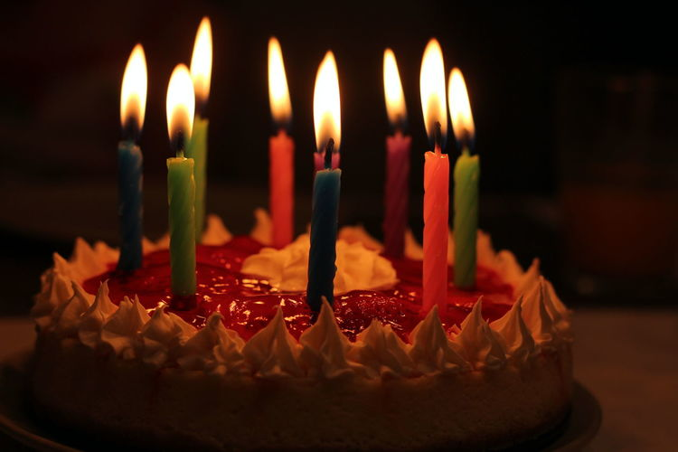 9 Candles Holidays Jello Birthday Birthday Cake Birthday Candles Burning Cake Candle Celebration Close-up Flame Food Food And Drink Freshness Glowing Illuminated Melting No People Strawberry Sweet Food Sweets Whipped Cream