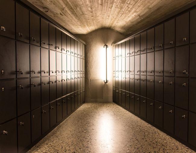 Interior Of Illuminated Locker Room