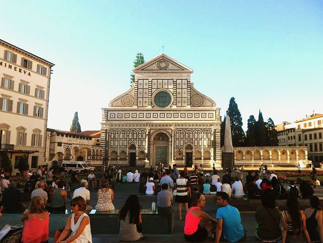 Florence Florence Italy Florence, Italy Florence In Summer Florencehistory Italyweddingphotographer Santamarianovella Santa Maria Novella Large Group Of People Travel Destinations History Building Exterior Architecture People