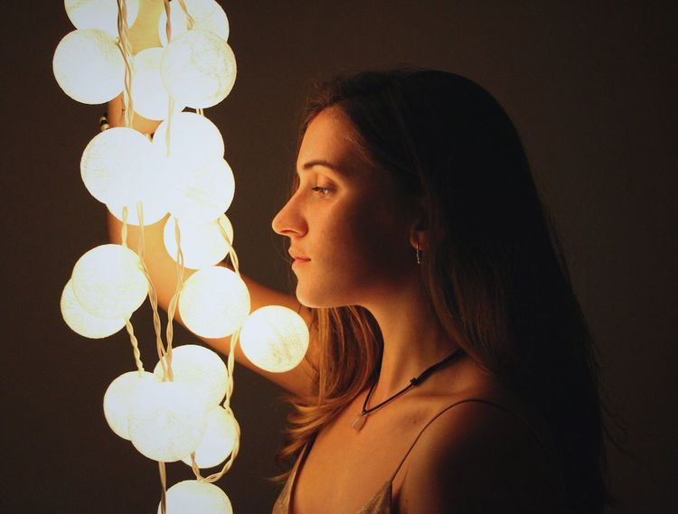 Illuminated Young Adult Studio Shot Holding Human Face Candlelight Darkroom Perfile Beautiful People