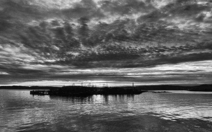 The Island Steilene at night fallwhen the sun goes down - in black and white Black & White Islands Night Night Skyline Nightsky Sea Seascape Seasky