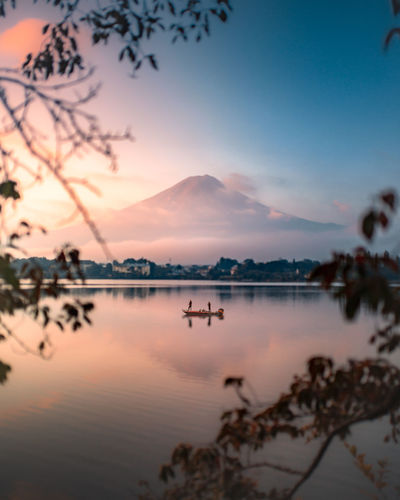 Morning Calm Capture Tomorrow Sky Water Scenics - Nature Beauty In Nature Sunset Reflection Tranquility Tranquil Scene Lake Nature No People Mountain Non-urban Scene Idyllic Tree Plant Waterfront Cloud - Sky Outdoors Fuji Mount FuJi