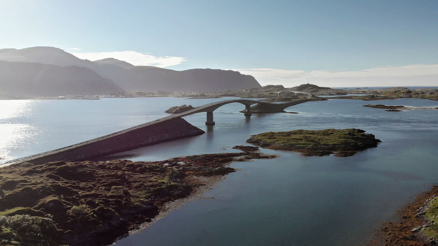 Fredvang bridge in Lofoten, Norway Beach Mountain Village Curve No People Nature Sky View From Above Blue Sky By The Sea Water Coastline Rocky Droneshot Drone  Tranquil Scene Norway Outdoors Mountain Range Idyllic Sea Bridge Lofoten Aerial View Mavic Air