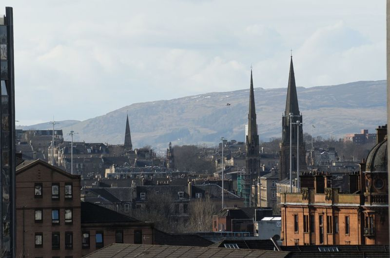 Glasgow  Glasgow West End Skyline Skyline Architecture Building Building Exterior Built Structure City Cityscape Cloud - Sky Day High Angle View Mountain Mountain Range Nature No People Outdoors Residential District Sky Tower Travel Destinations