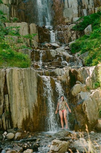 Water One Woman Only One Person Waterfall Full Length Only Women Adult Adults Only Beauty Outdoors Motion Nature Stream - Flowing Water Scenics People Beautiful Woman Day