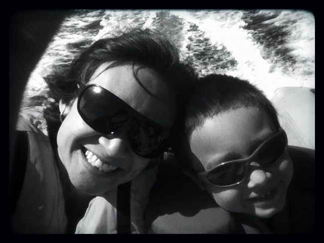 Blackandwhite Boating Mother & Son