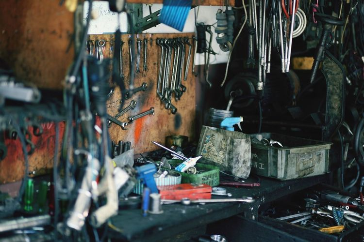 Various Tools In Auto Repair Shop