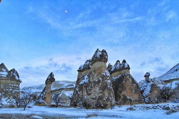 Rock Rock Formation Capadoccia Turkey Shapes In Nature  Rocky Landscape Snow Cold Temperature Winter Carousel Sky