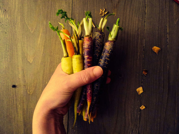 Carrots Vegetables Food Healthy Eating Human Hand Close-up