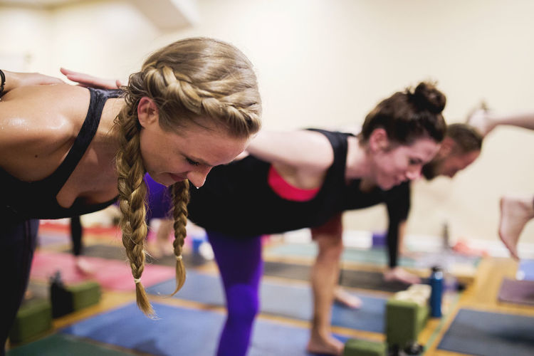 Women doing yoga at studio