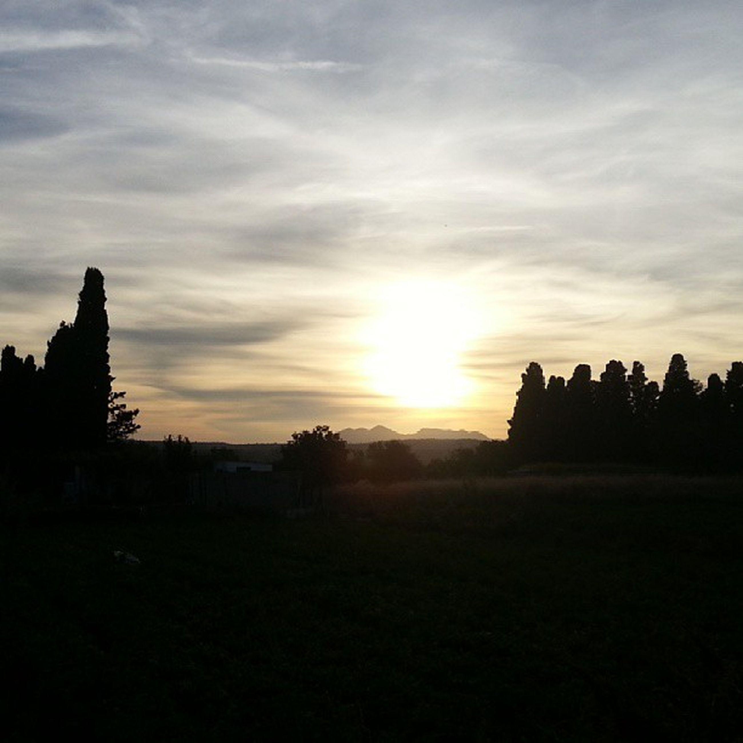 sunset, silhouette, sun, sky, tranquil scene, landscape, scenics, cloud - sky, beauty in nature, tranquility, sunlight, sunbeam, nature, field, tree, idyllic, cloud, outdoors, building exterior, built structure