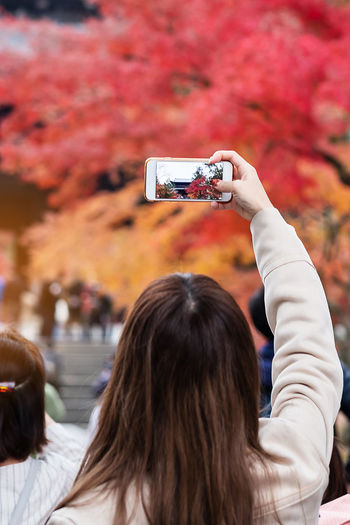 Rear view of woman photographing autumn tree