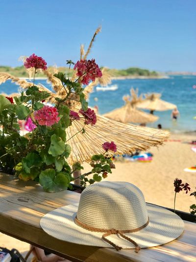 Beach Sea Flower Nature Beauty In Nature Table Focus On Foreground Summer Outdoors Water Horizon Over Water No People Sand Sky Day Clear Sky Close-up Scenics Sun Hat Straw Hat Hat Vacations Relaxing Sunlight