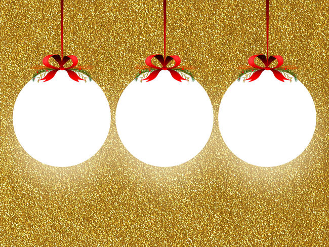 Three empty illuminated rounded frames with Xmas ribbon decoration on golden glitter background 3 Background Blank Christams Christmas Balls Circle Empty Frame Glitter Golden Hanged Holidays Illuminated Image Paper Photo Product Product Placement Red Ribbons Rounded Frame Tag Template Three White Xmas Decorations
