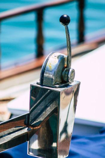 Close-up of boat moored at shore