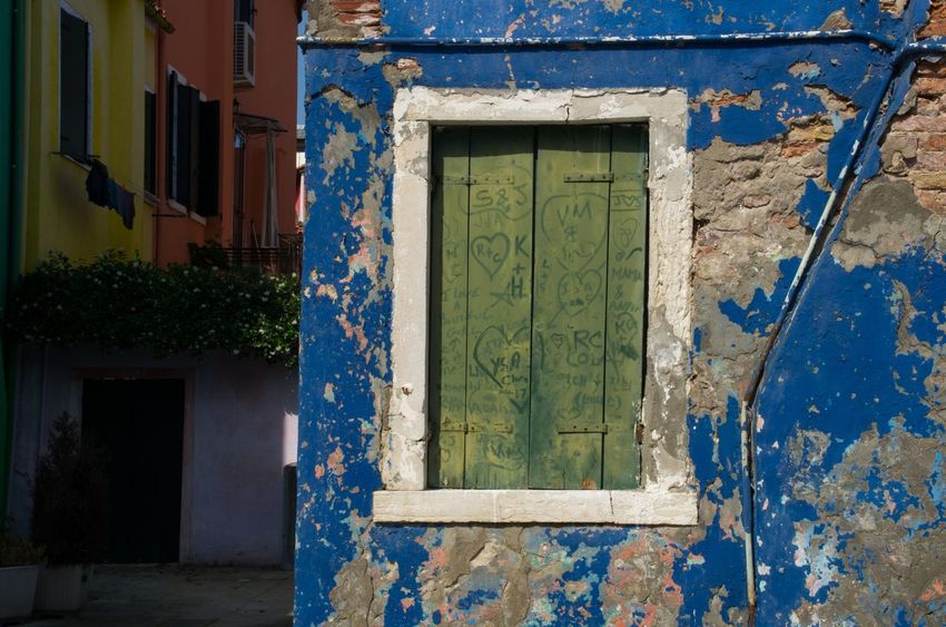 Architecture Building Exterior Burano Close-up Colourful Day House Italy Outdoors Painted Houses Peeling Paint Shutters Travel Venice Venice, Italy Window Windows