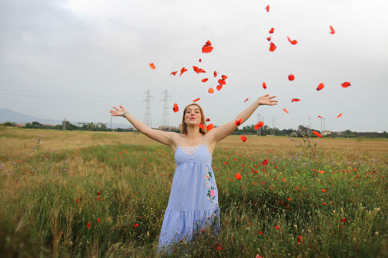 Throwing petals in the air