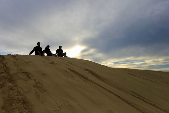 Silhouettes of sand boarders Sky Cloud - Sky Land Leisure Activity Scenics - Nature Nature Landscape Beauty In Nature Group Of People Real People Environment Sand Men Desert Togetherness Lifestyles Tranquility People Tranquil Scene Sand Dune
