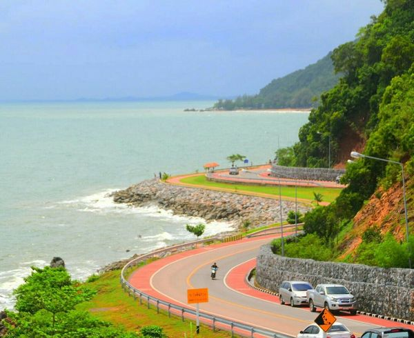 Thailand Road Buetiful Day Outdoors Sea And Sky