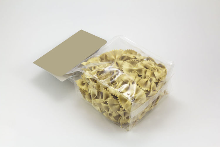 Pasta packaging Studio Shot Indoors  White Background Copy Space Container Single Object Cut Out Paper No People Food Close-up Food And Drink Pasta Packaging Plastic Blank Label