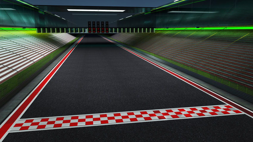 Absence Architecture Ceiling Diminishing Perspective Direction Dividing Line Empty Green Color Illuminated Indoors  Lighting Equipment Long Marking No People Pattern Railing Red Road Road Marking Sign Symbol The Way Forward Transportation