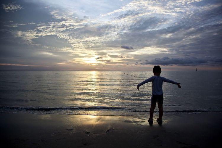 Sunset Boy Beach Be. Ready.
