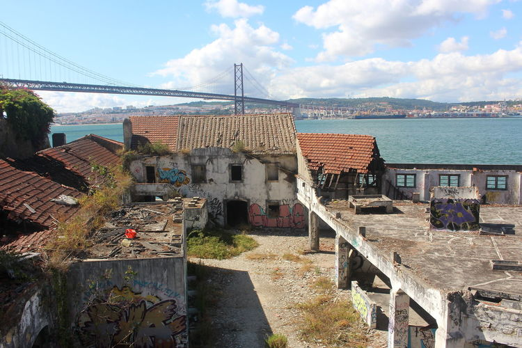 Tejo River Tejo Demolition Buildings Water Architecture Built Structure House Building Exterior Abandoned No People Outdoors Sky Lisboa Fabrica Da Arealva Almada Abandoned Buildings Cacilhas Portugal Lisbon Ruin Sunlight Day Nature