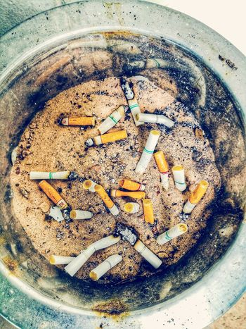 Ashtray  Residue Sigarettes Smoking Issues Tobaco Smoke Time Social Issues High Angle View Butts Stubs