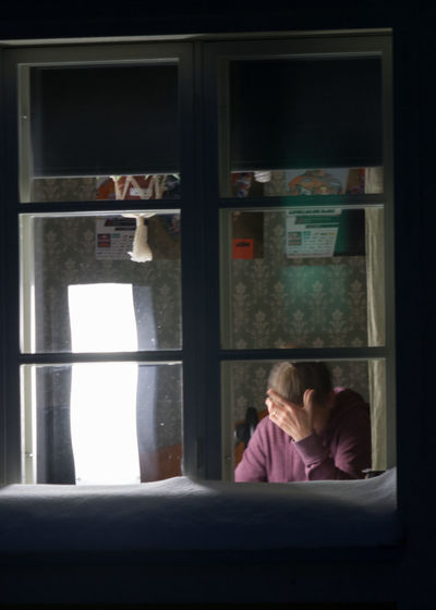 Bright Light Casual Clothing Looking Through Window People Real People Sitting Student Studying Hard Window