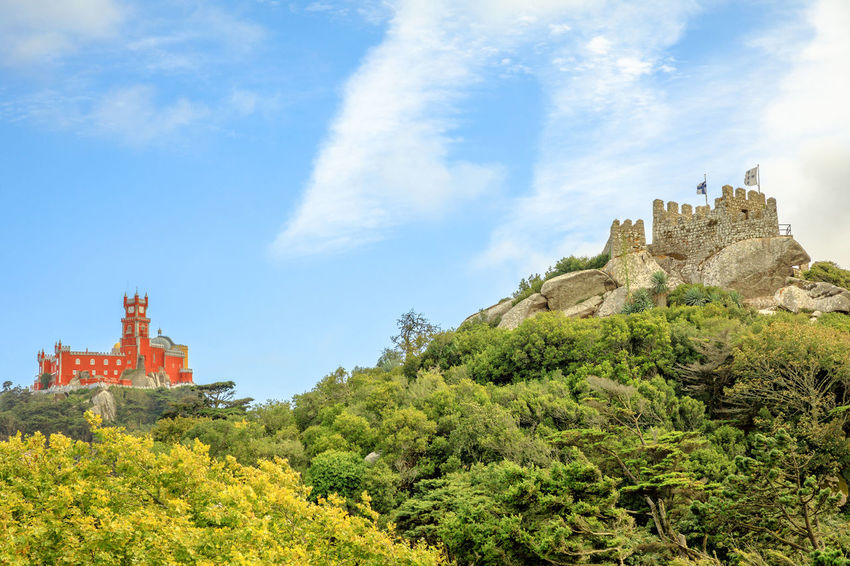Pena Palace and the ruins of Moors Castle are popular landmarks and major tourist attractions of the Cultural Landscape of Sintra as a World Heritage Site, Portugal. Portugal Sintra Castle Ruins Medioeval Cities Wall Tourism Flags Skyline Cityscape Palace Castle Ruin Aerial View Moors Castle Pena Palace Moors Building Exterior Built Structure Architecture Sky Building History The Past Cloud - Sky Tree Nature Plant Travel Destinations Travel Fort Day Low Angle View Growth Religion Place Of Worship No People Outdoors Ancient Civilization