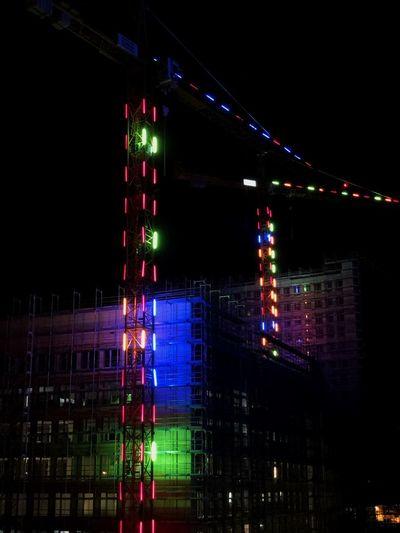 Crane Crane - Construction Machinery Construction Site Construction Night Built Structure Architecture Illuminated City Building Exterior Bridge Multi Colored