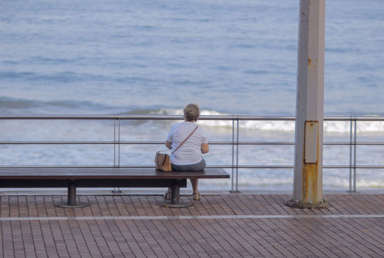 Rear view of man sitting on bench looking at sea
