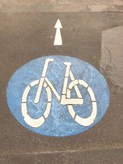 Fahrradstrasse Fahrradstrasse Germany Street Cycling Cycle Bicycle Bike Sign Communication Road Symbol High Angle View Transportation Guidance Road Sign No People Road Marking Marking Arrow Symbol City Direction