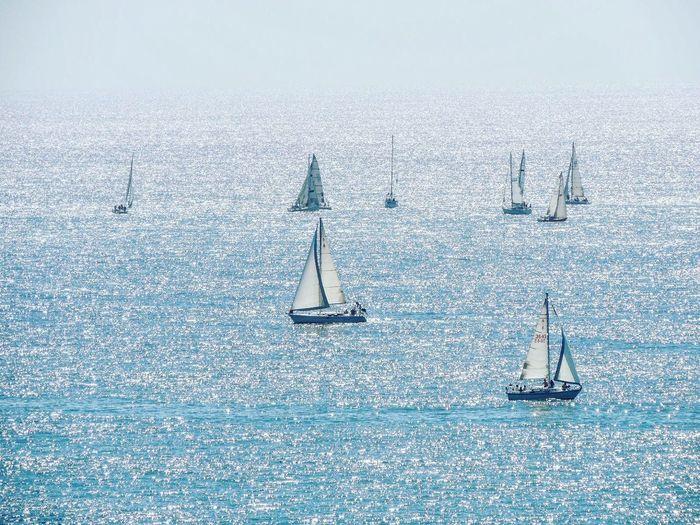 Sailboats Sailing In Sea During Sunny Day