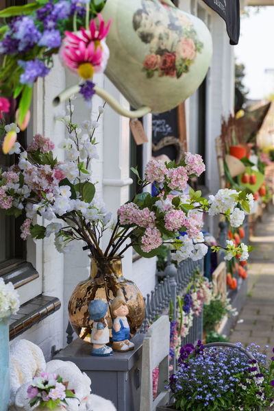 Spring In Pastels In Holland Gift Shop Romantic Mood Travel Photography A Street In Holland Authentic Dutch Bouquet Close-up Colorful Flower Decor Colorful Flowers Festive Decor Festively Decorated Floristic Decoration Flower Collection Giagonal Composition Giftshop Memories Of Holland No People Nostalgic  Romantic Spring Soft Pastels Spring In Holland Spring Mood Typical Dutch Scene Vase View Of A Street In Holland