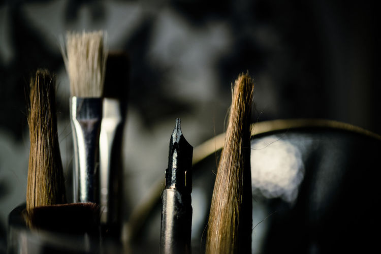 Close up of brushes