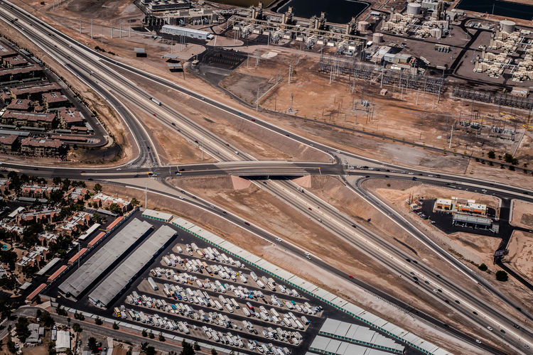 Aerial view crisscrossing highway interchanges
