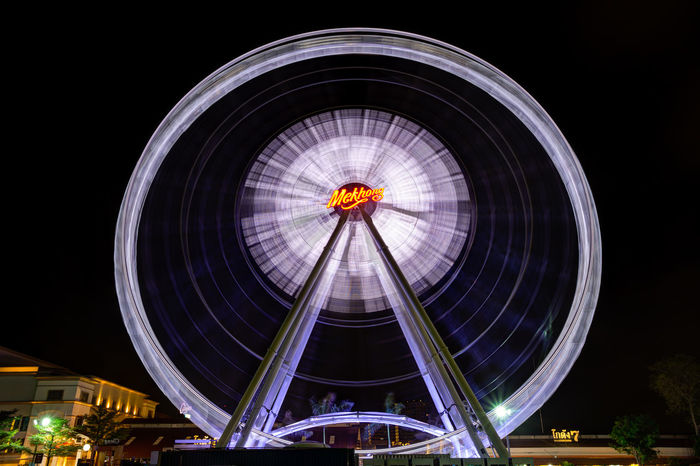 Ferris Wheel, Asiatique Bangkok Architecture Asiatique Circle Famous Place Ferris Wheel Illuminated Low Angle View Thailand Canon 6D