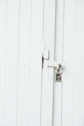 Architecture Backgrounds Built Structure Close-up Closed Day Door Entrance Full Frame Latch Lock Metal No People Outdoors Protection Safety Security Wall - Building Feature White White Color Wood - Material