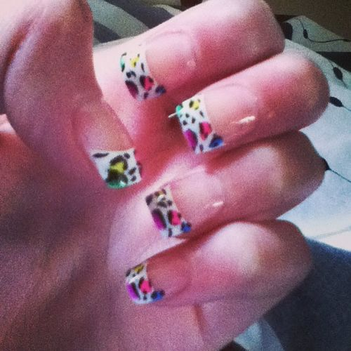 Re-Done My Nails!<3 Leopardprintnails Leopardprint  Pink Purple Yellow Blue Green Pretty Likeit Loveit Goood Like Follow Muchlove