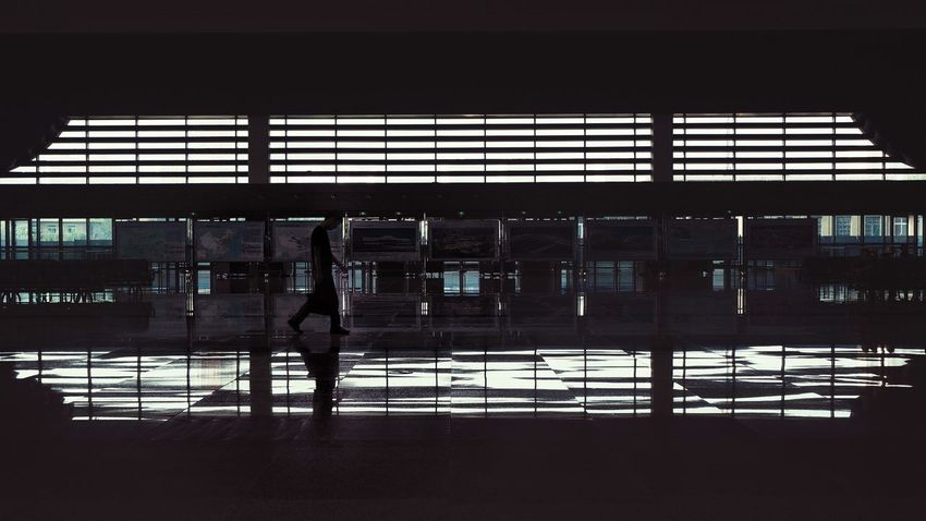 Window Indoors  Architecture Walking Silhouette Men Railroad Station City Life Person Glass - Material Lanzhou West Train Station China Lanzhou