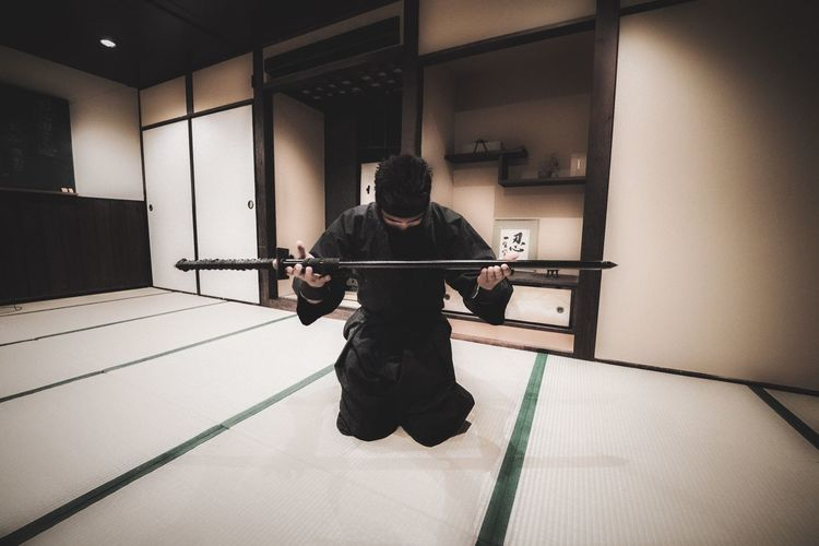Guess this is what I'd look like if I was a ninja... One Person Indoors  Real People Lifestyles Full Length Cultures Men Day Ninja Japan Dojo